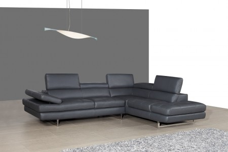 A761 Contemporary Sectional Sofa in Grey Leather