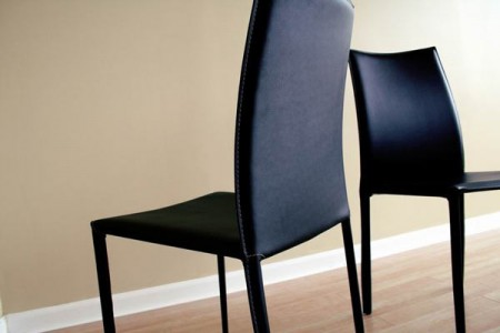 Rockford Contemporary Black Leather Dining Chair