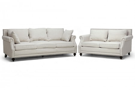 63801 Alice Sofa Set in Beige Linen Fabric