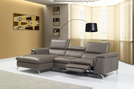 Angela Power Reclining Sectional Sofa in Brown Leather