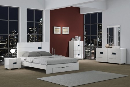 Aria White Modern Bedroom Set with Platform Storage Bed