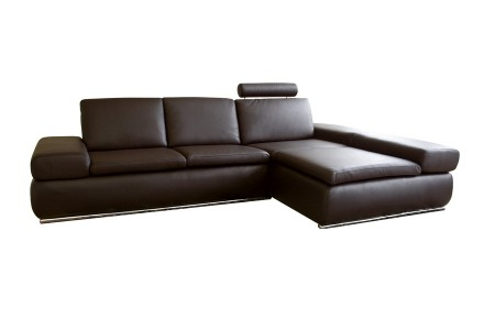 Daybed Dark Brown Leather Contemporary Sectional with Reclining Back