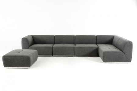 Divani Casa Hawthorn Sectional Sofa in Grey Fabric