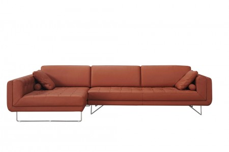 Hampton Modern Sectional Sofa in Orange Leather
