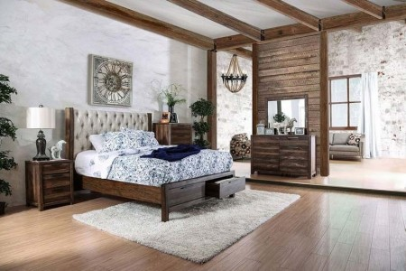 Hutchinson Bedroom Set in Rustic Natural Tone with Storage Bed