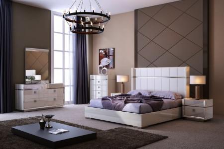 J&M Furniture Paris Ivory Bedroom Set Platform Bed