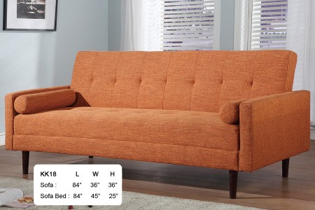 KK18-O At Home USA Modern Orange Fabric Sofa Bed Sleeper