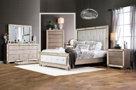 Loraine Bedroom Set in Glam Champagne Finish