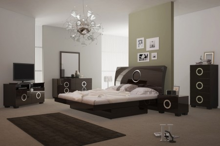 Monte Carlo Bedroom Set in Wenge Lacquer Finish