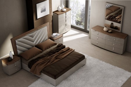 J&M Furniture Napa Bedroom Set in Grey and Brown Finish