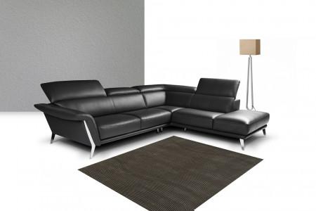 Nicoletti Heni Sectional Sofa in Black Full Italian Leather