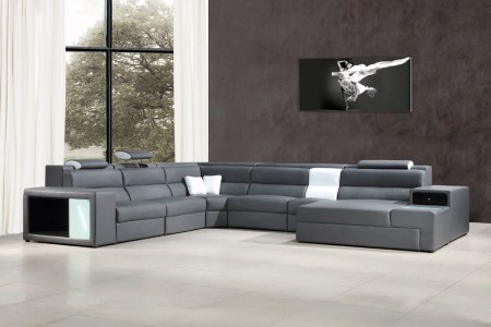 Divani Casa Polaris Large Sectional Sofa in Grey Leather