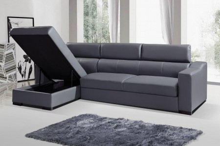 Ritz Sectional Sofa Bed in Grey Italian Leather