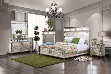 Salamance Bedroom Set in Silver Finish and Tall Headboard