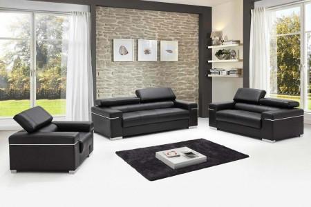 Soho Modern Living Room Set in Black Leather