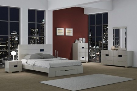 Gina Bedroom Set in Light Grey Lacquer with Storage Bed