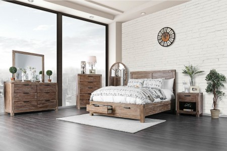 Wynton Bedroom Set in Weathered Light Oak