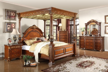 Royal Post Canopy Bedroom Set in Cherry with Marble