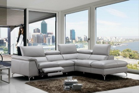 Viola Power Reclining Sectional Sofa in Grey Leather