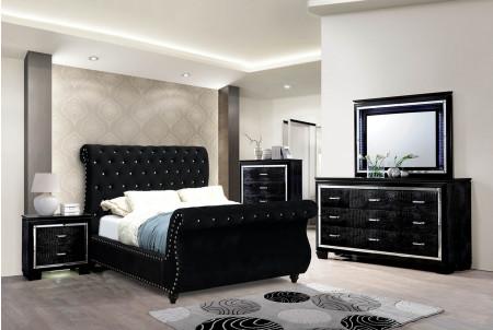 Noella Sleigh Bedroom Set in Black