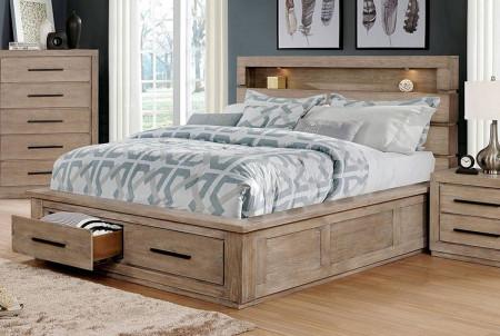 Oakburn Bedroom Set in Light Gray with Bookcase Headboard