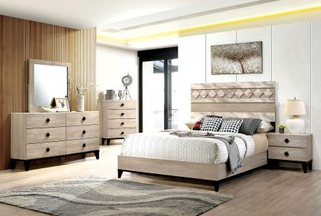 Elaina Bedroom Set in Beige And Espresso