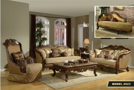 Cherry Wood Fabric Living Room Set 623