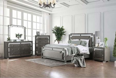 Jeanine Modern Bedroom Set in Gray Finish