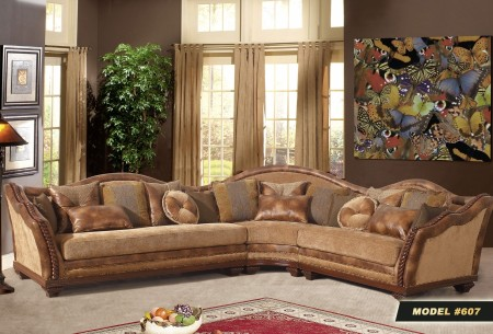 Three Piece Beige Fabric Sectional Sofa 607