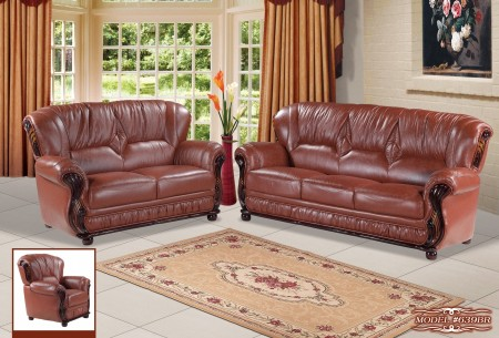 Brown Leather Wood Trim Living Room Set 639BR