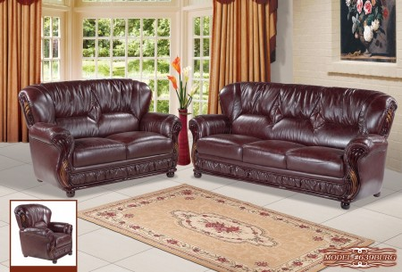 Burgundy Leather Mahogany Wood Trim Living Room Set 639BURG