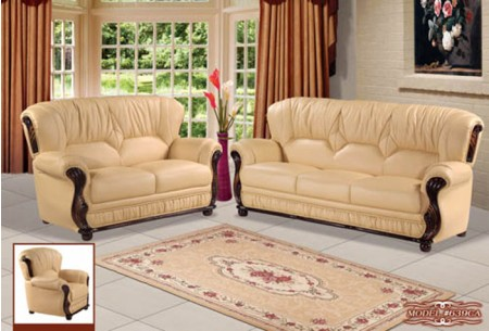 Beige Leather Living Room Set 639CA Meridian Furniture