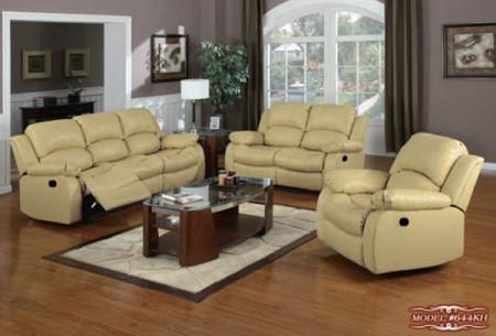 Beige Leather Living Room Set 644KH Meridian Furniture