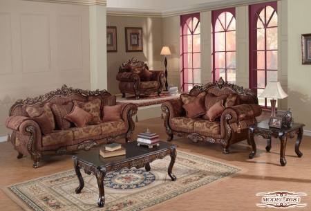 Sheraton 681 Living Room Set in Cherry Finish