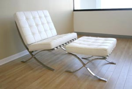 Barcelona Style White Leather Chair and Ottoman Set