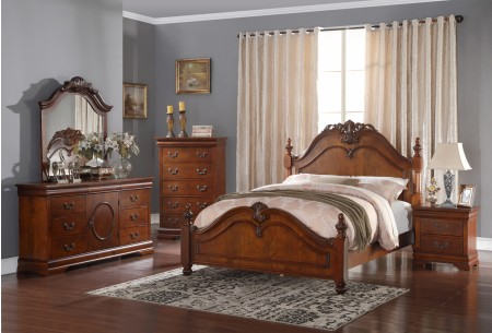 B493 Traditional Bedroom Set in Brown Oak Finish
