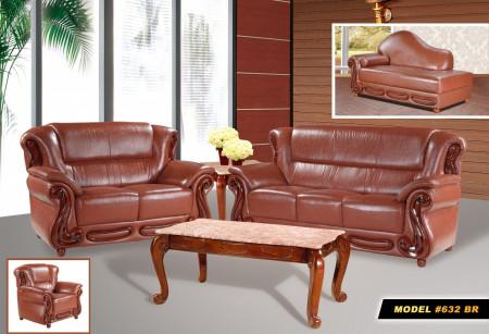 Brown Leather living room set 632BR Meridian Furniture