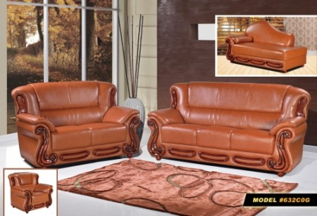 Cognac Leather Wood Living Room Set 632 Meridian Furniture