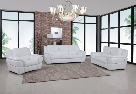 4572 Modern Living Room Set in White Leather