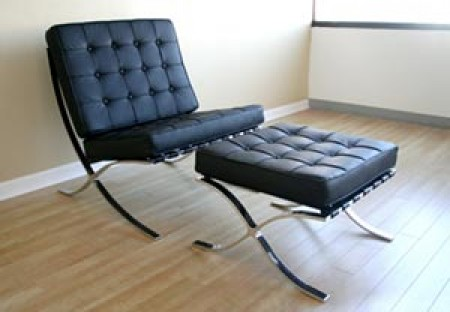Barcelona Style Black Leather Chair and Ottoman Set