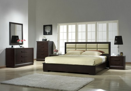 Boston Modern Queen/King Platform Bed Solid Wood Bedroom Set
