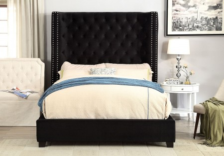 Mirabelle Platform Bed Set in Black with Tall Headboard