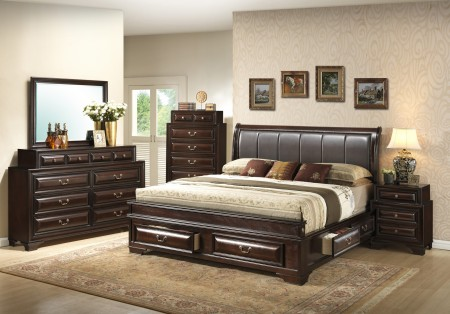 Brown Solid Wood Leather Headboard Storage Bedroom Set G8875C