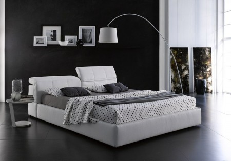 Tower Italian Storage Bed in White Leather by J&M Furniture