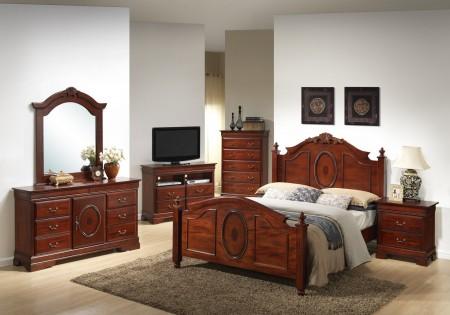 Cherry Solid Wood Traditional Poster Bedroom Set G2600A
