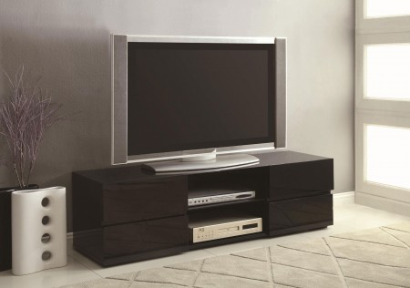 700841 Black High Gloss Finished Wood Contemporary TV Stand