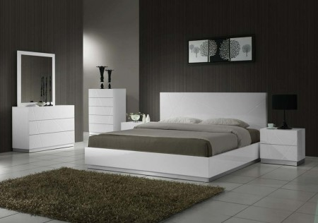 Naples Modern Bedroom Set in White
