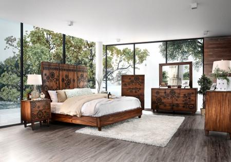 Amarantha Bedroom Set in Dark Oak and Flowers Design