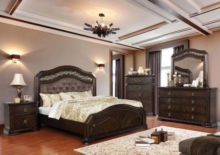 Calliope Bedroom Set in Espresso and Tufted Headboard