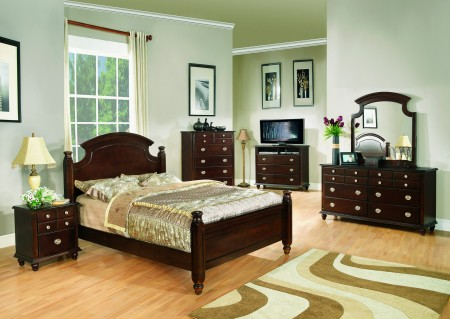 Cappuccino Finish Solid Wood Poster Bedroom Set G5950A